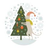 Christmas illustration, Christmas card. Christmas illustration, cat decorates the Christmas tree Stock Images