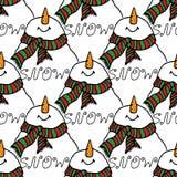 Christmas illustration. Christmas card snowman. Seamless pattern. Stock Photos