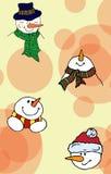 Christmas illustration. Christmas card snowmen. Seamless pattern.  Royalty Free Stock Photo