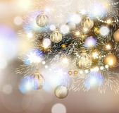 Christmas illustration with Christmas tree in lights, golden and Royalty Free Stock Photo