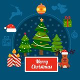 Christmas vector illustration with trees and holiday elements on a dark blue background Royalty Free Stock Photo