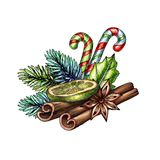 Christmas illustration, cinnamon sticks, dried lime, candy cane, festive ornament, hand drawn clip art isolated on white. Background stock illustration