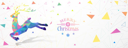 Christmas illustration with color deer Low Poly Royalty Free Stock Image