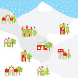 Christmas illustration with colorful house on the mountain suitable for Xmas greeting card, postcard, and wallpaper. Christmas illustration with colorful house Stock Photos