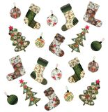 Christmas illustration. Colorful quilt design. Christmas decorative objects Royalty Free Stock Photos
