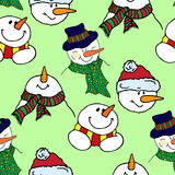 Christmas illustration. Colorful snowmen. New Year card. Seamles pattern. Royalty Free Stock Images
