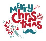 Merry Christmas lettering. Christmas illustration for congratulations with New year and Christmas. With lettering composition merry Christmas  with Christmas Stock Image