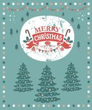 Christmas market poster. Christmas illustration for congratulations with New year and Christmas. With lettering composition merry Christmas and a Happy New year Stock Photos