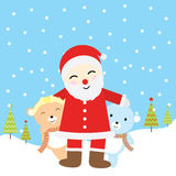 Christmas illustration with cute baby bears and Santa Claus suitable for Xmas greeting card, wallpaper and postcard Stock Photography