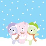 Christmas illustration with cute baby bears on snow fall background suitable for Xmas greeting card, wallpaper and postcard Stock Image