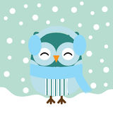 Christmas illustration with cute baby owl on snow fall background Royalty Free Stock Photo