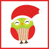 Christmas illustration with cute baby owl wears Santa hat on red frame Stock Photos