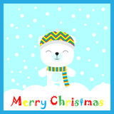 Christmas illustration with cute bear on snowflake background on blue frame suitable for postcard, wallpaper and children greeting. Christmas illustration with Stock Image