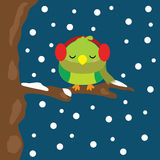 Christmas illustration with cute bird sleeps on snowfall at night background suitable for Xmas kid greeting season, wallpaper, and Stock Photo