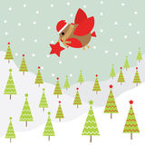 Christmas illustration with cute bird on snow background suitable for Xmas greeting card, wallpaper and postcard Stock Photo