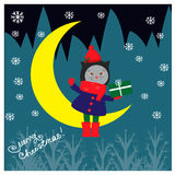 Christmas illustration with cute cat seating on the moon Royalty Free Stock Photography