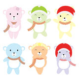 Christmas illustration with cute colorful baby bears suitable for children Xmas sticker set and clip art. Christmas illustration with cute colorful baby bears Royalty Free Stock Photos