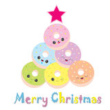 Christmas illustration with cute colorful doughnuts as Xmas tree. Suitable for Xmas greeting card, invitation card, and postcard Stock Photography