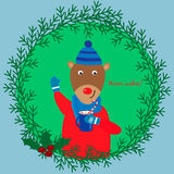 Christmas illustration with cute deer in a cap and scarf Stock Photo
