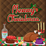 Christmas illustration with cute elements on brown background..vector illustration Royalty Free Stock Image