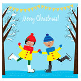 Christmas illustration with cute girl and boy ice skating in the winter forest Royalty Free Stock Images