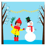 Christmas illustration with cute girl and funny snowman in the winter forest Royalty Free Stock Photos