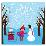 Christmas illustration with cute girl and funny snowman in the winter forest Stock Photo