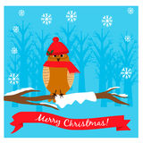 Christmas illustration with cute owl in a cap on the tree branch. EPS 10 stock illustration