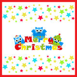 Christmas illustration with cute owl on star background on red frame suitable for postcard, wallpaper and children greeting card Royalty Free Stock Photos