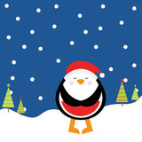 Christmas illustration with cute penguin on night background suitable for children Xmas greeting card, and invitation Stock Photo