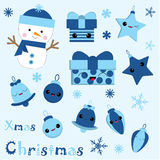 Christmas illustration with cute snowman, bell, gift, star and Xmas ornaments on blue color suitable for Children Xmas sticker and Stock Photography