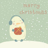 Christmas illustration with cute snowman. Cartoon  Royalty Free Stock Photo