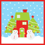 Christmas illustration with cute snowmen, Xmas tree, and red house Stock Images