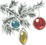 Christmas illustration with decoration Royalty Free Stock Images