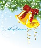 Christmas illustration with fir and bells. Bell bow christmas holiday  new fir card fir tree Royalty Free Stock Photo