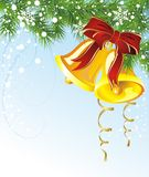 Christmas illustration with fir and bells. Bell bow christmas holiday  new fir card fir tree Royalty Free Stock Photos