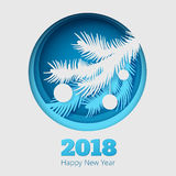 Christmas illustration with fir branch and balls on blue background. Image for your design projects Stock Photo