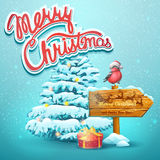 Christmas illustration with fir, pointer, bullfinch Stock Image