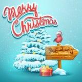 Christmas illustration with fir, pointer, bullfinch Stock Image