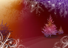Christmas illustration with fir tree. And snowflake Stock Photo