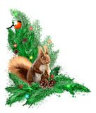Christmas illustration with fir wreath, bullfinch and squirrel. royalty free stock photos