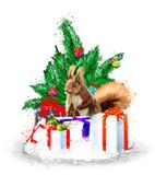 Christmas illustration with fir wreath, gifts and squirrel. stock photos