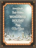 Christmas illustration frame with winter village. Royalty Free Stock Photos