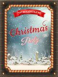 Christmas illustration frame with winter village. Royalty Free Stock Images