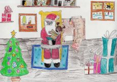 Christmas illustration. Freehand child's drawing. Pencils on paper Stock Photos
