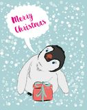 Christmas illustration with funny cartoon penguin Stock Photo