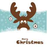 Christmas illustration with funny deer Stock Image