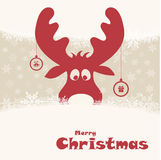 Christmas illustration with funny deer Stock Photos