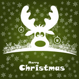 Christmas illustration with funny deer Stock Images
