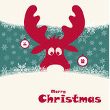 Christmas illustration with funny deer Royalty Free Stock Photography